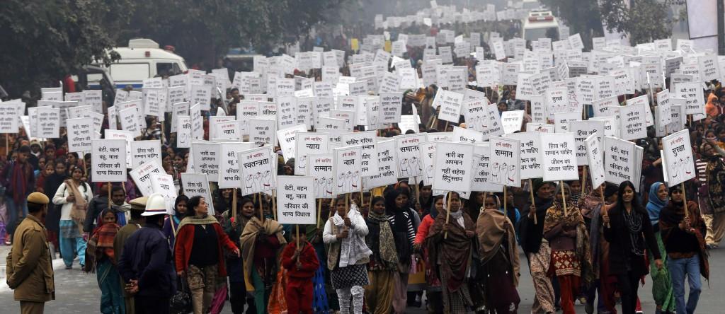Protest mot våldtäkter i Indien
